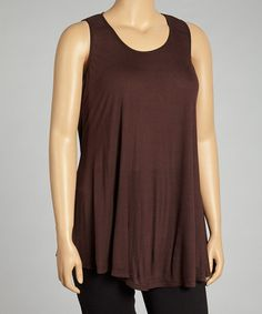 Take a look at this Brown Sleeveless Top - Plus by 24/7 on #zulily today!