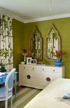 Ms. Arrowood was inspired by the look of decorator Tom Scheerer's Lyford Cay Club. Green Grasscloth