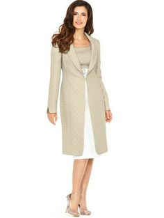 Jacquard Coat and Dress, White
