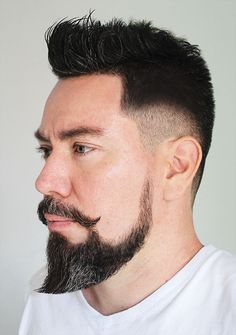 Short Beard Styles the collection of hair that grows on the chin and cheeks of humans and some non-human animals. Styles for men and Beard styles. Goatee Styles, Beard Styles For Men, Hair And Beard Styles, Curly Hair Styles, Short Beard, Sexy Beard, Handlebar Mustache, Beard No Mustache, New Beard Style