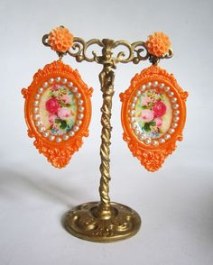 neon orange earrings large big romantic neon blossom clip ons victorian roses statement jewelry one of a kind pierced neon earrings studs