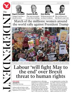The Independent (UK) | Here's How Newspapers Around The World Covered The Women's March