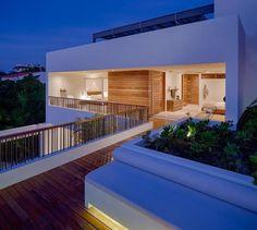Modern home with Outdoor, Wood Patio, Porch, Deck, Decking Patio, Porch, Deck, and Shrubs. Photo 6 of Casa Xixim