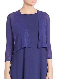 Eileen Fisher Organic Linen Shrug - Sapphire - Size