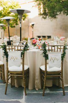 Modernly Romantic California Wedding - MODwedding Fairytale Wedding Day of Gal Wedding Greystone Mansion Wedding Bluebell Florals Huntington Catering RedShoe LA DJ My One Love photography Mr and Mrs chairs