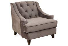 Addison Tufted Velvet Chair, Gray