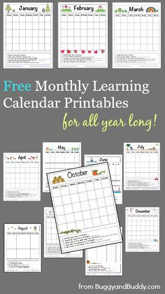 12 FREE Monthly Learning Calendar Printables ~ BuggyandBuddy.com Preschool Calendar, Calendar Activities, Preschool Printables, Classroom Activities, Preschool Monthly Themes, Kindergarten Calendar, Classroom Calendar, Preschool Curriculum, Preschool Ideas