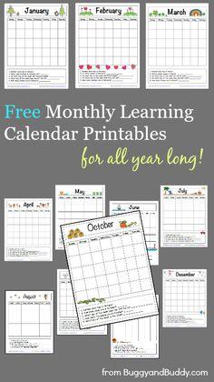 12 FREE Monthly Learning Calendar Printables ~ BuggyandBuddy.com