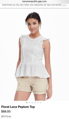 Shopping Banana Republic women's clothing sale is a savvy way to save money and buy some great new clothes. Find women's clothing sale jeans, coats, dresses, skirts, tops and more. Modern Outfits, Casual Summer Outfits, Nautical Outfits, Nautical Clothing, Women's Clothing, Lace Peplum, Peplum Tops, Sleeveless Tops, Lace Dress
