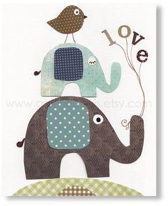 Nursery art prints, baby nursery decor, nursery wall art, nursery elephant, bird, words, love, Love Is In The Air 8x10 print. $14.00, via Etsy.