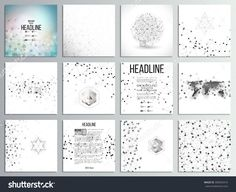 Set Of 12 Creative Cards, Square Brochure Template Design. Molecular Structure, Gray Backgrounds For Communication, Science Abstract Vector Illustration. - 300043316 : Shutterstock