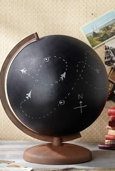 Want to flex your creative muscles? The masterminds at Jo-Ann came up with this genius idea to cover your globe in chalkboard paint, then write messages or draw pictures on the finished item. Get the tutorial at Jo-Ann. Art Globe, Globe Decor, Joann Crafts, Globe Crafts, Map Crafts, Spray Paint Projects, Painted Globe, Chalk It Up, Cool Ideas