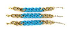 Adjustable Turquoise Acrylic and Gold Chain Bracelet. $25.00, via Etsy.