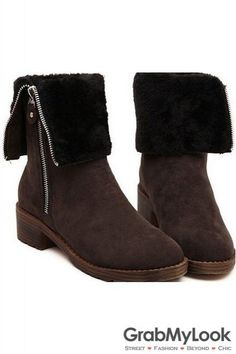 Suede Brown Leather Two Way Flat Ankle Women Boots Shoes