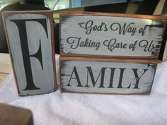 3 Pc Wooden Rustic Family Block Set. Family God's Way of Taking Care of Us by ExpressionsNmore, $24.95