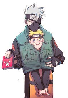 Kakashi and Naruto Kakashi Hatake, Naruto And Sasuke, Naruto Uzumaki, Naruto Cute, Sasunaru, Boruto, Kakashi Face, Gaara, Naruto Teams
