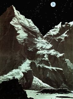 EARTHLIGHT on the Mountains of the Moon - Illustration by Jack Goggins (1952)