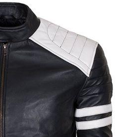 Fight Club Brad Pitt white stripes Celebrity Black Leather Jacket: Amazon.co.uk: Clothing
