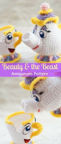 What a great crochet pattern of two characters from my favorite Disney movie Beauty and the Beast. Make your own Mrs Potts and Chip #ad #amigurumi #amigurumidoll #amigurumipattern #amigurumitoy #amigurumiaddict #crochet #crocheting #crochetpattern #pattern #patternsforcrochet #printable #instantdownload #pdf