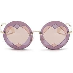 Miu Miu Cutout heart window round sunglasses (215.605 CLP) ❤ liked on Polyvore featuring accessories, eyewear, sunglasses, glasses, eyes, retro glasses, brown round sunglasses, round frame glasses, round sunglasses and brown sunglasses