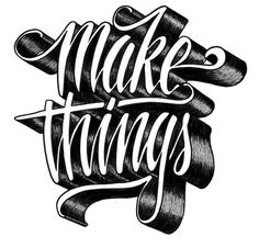 Hand lettering and a reminder to get off the computer and go make something tangible, by Melvin Leidelmeijer. Cool Typography, Creative Lettering, Typography Letters, Typography Design, Logo Design, Design Art, Graphic Design, Set Design, Typography Inspiration