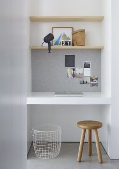 minimalist home office nook in white and light gray Alcove Desk, Desk Nook, Office Nook, Home Office Space, Home Office Design, Home Office Decor, Home Decor, Office Ideas, Office Style