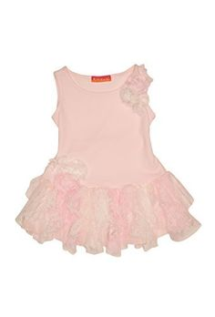 Kate Mack Baby-Girl's Infant Social Butterfly Dress - Pink - This twirl worthy knit dress has a skirt made from layers of ivory and pink lace petals - charmingly trimmed with netting flowers. Perfect for a summer party or any day she wants to look pretty in pink!