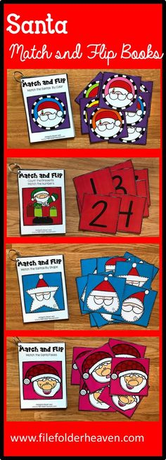 These Santa Match and Flip Books focus on basic matching skills. In these activities, students work on matching picture to picture (or by emotion/expression), matching by color, and matching by shape, and matching by counting.  There are four Match and Flip Books included in this download.  Match the Santa by Shape (Matching By Shape) Match the Santa by Emotion/Expression (Matching By Picture/Emotion) Match the Santa by Color (Matching By Color) Count the Presents/Match the Number