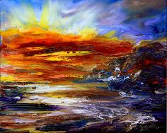 This explodes with color and energy- makes a fabulous coastal/wave scene at sunset or sunrise! Very engaging & extremely dramatic!!