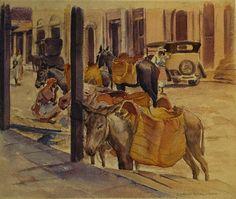 """Charles Drogkamp """"Mexican Street Scene"""" 11x13 Watercolor - Vander Molen Fine Art"""