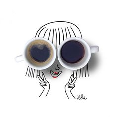 BoNjOuR #café #coffee #eatgirl #artoftheday #illustration #adolieday