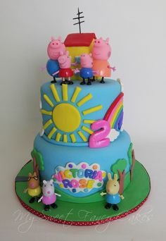 [ Sweet Fancy Cakes Peppa Pig Cake ] - Best Free Home Design Idea & Inspiration Peppa Pig Birthday Cake, Twin Birthday Cakes, Peppa Pig Cakes, 3rd Birthday, Birthday Ideas, Cake Boos, Cumple Peppa Pig, Novelty Cakes, Fancy Cakes