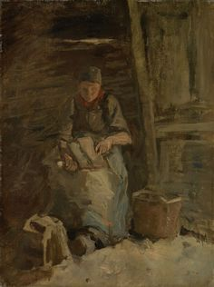 Vrouw die vlas kneust, 1885 - 1887, Anton Mauve, De Mesdag Collectie, Den Haag