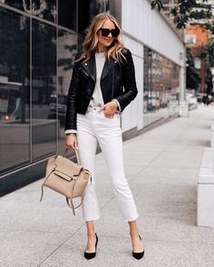 Black leather jacket (small - club Monaco linked budget friendly) Grey sweater (small) White cropped jeans (linked similar) Black pumps (tts) Celine belt bag (linked similar) 30 Outfits, Night Outfits, Casual Outfits, Cute Outfits, Fashion Outfits, Gucci Fashion, Spring Outfits, Fashion Tips, Amy Jackson