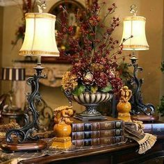 vignette with Silk floral arrangement , lamp,books, topiary Tuscan Home Decorating, French Country Decorating, Country French, Tuscan Style Homes, Tuscan House, Style Toscan, Tuscany Decor, Home Decoracion, World Decor