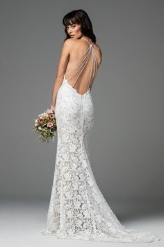 Willowby Aundin 58120 gorgeous Adella stretch lace sheath bridal gown with a stunning strappy low back. Please contact either stores for pricing and appointment details. Low Back Wedding Gowns, Ethereal Wedding Dress, Long Sleeve Wedding, Wedding Dress Sleeves, Wedding Dress Shopping, Madame, Bridal Dresses, Watters Wedding Dresses, Wedding Stuff