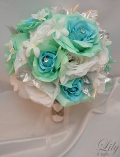 "17pcs Wedding Bridal Bouquet Set Decoration Package Silk Flowers AQUA BLUE/GREEN ""Lily Of Angeles"" on Etsy, $199.99"