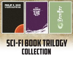 Sci Fi Book Quote Trilogy Set of three posters