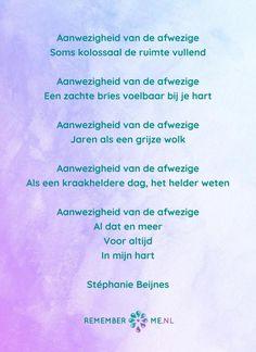 Het gedicht 'Aanwezigheid van de afwezige' over het afscheid, het verdriet en het gemis na de dood van een geliefde. Lees meer op: http://www.rememberme.nl/gedichten-over-rouw-en-verlies/
