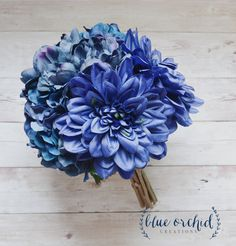 Blue Bridesmaid Bouquet, Blue Dahlia and Hydrangea Bouquet, Blue Peony Bouquet by blueorchidcreations on Etsy