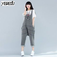767169a378a  0301 2017 Summer Overalls denim Jumpsuit women Loose Big size Denim Jumpsuits  Korean Crotch Pants