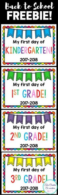 These FREE Back to School Signs are perfect for kids to hold on their first day of school! Includes Preschool, Kindergarten, First Grade, Second Grade, Third Grade, Fourth Grade, and Fifth Grade!