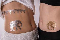 Temporäres Sheebani Tattoo mit Elefanten Motiv in Gold & Silber: Im Angebot nur 5,90 € ▷ Jetzt Sheebani Tattoo bei POSH Tattoo bestellen!