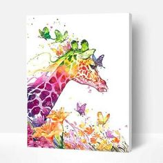 Paint By Numbers DIY Kit-Glasses Frog-Creative Wall Art | Etsy Easy Giraffe Drawing, Pop Art, Cartoon Giraffe, Art Origami, Gif Disney, Cross Stitch Animals, Cross Paintings, Paint By Number, Oeuvre D'art