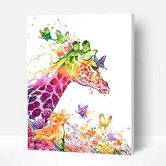 Paint By Numbers DIY Kit-Glasses Frog-Creative Wall Art | Etsy Easy Giraffe Drawing, Pop Art, Gif Disney, Paint By Number Kits, Cross Paintings, Diy Painting, Bunt, Flower Art, Watercolor Art