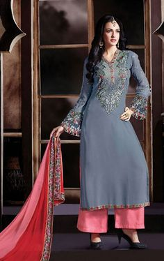 Picture of Charismatic Gray and Pink Palazo Salwar Kameez