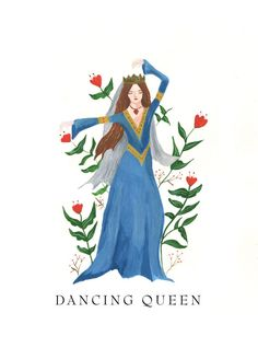 Dancing Queen Birthday Card Boho Whimsical Music by HutchCassidy