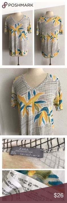 "Zara floral tshirt Zara floral shirt. Size L. Measures 28"" long with a 38"" bust. Knit top with lots of stretch! Very good used condition  💲Reasonable offers accepted ✅Bundle offers Zara Tops Tees - Short Sleeve"