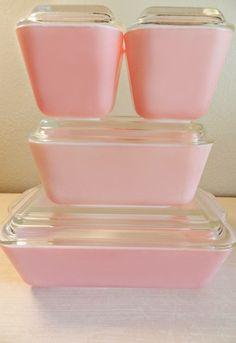 Pale pink vintage pyrex refrigerator dishes