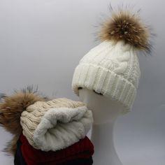 b2cb0ec588f 2016 New Womens Warm Fleece Inside Beanie Hats Winter Mink Raccoon Fur Pompom  Hat Female Cap